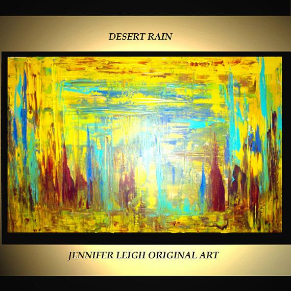 Welcome! DESERT RAIN A colorful large 36x24 modern art abstract ...