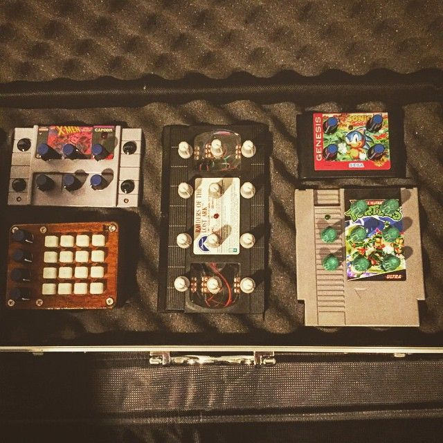 The whole #DIY #MIDI controller family in one   gun case