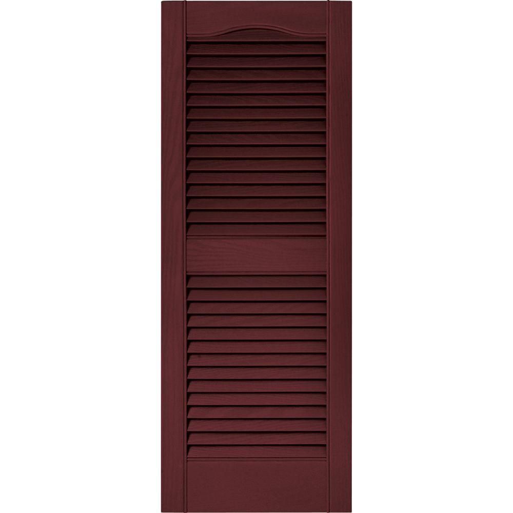 Builders Edge 15 In X 39 In Louvered Vinyl Exterior Shutters Pair In 078 Wineberry 010140039078 The Home Depot In 2020 Shutters Exterior Vinyl Exterior Builders Edge