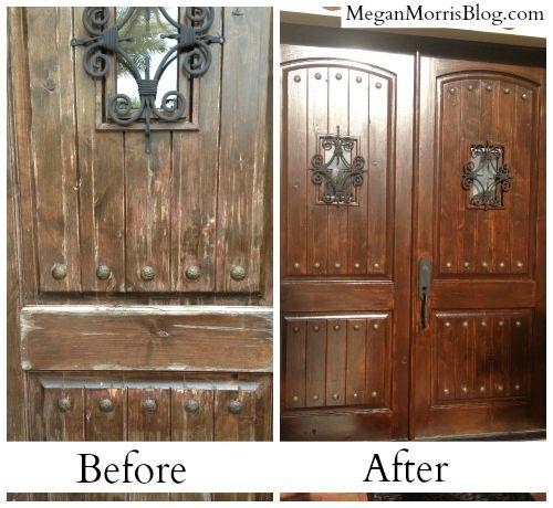 How to Refurbish Weathered Wooden Front Doors in 4 Steps #diy ...