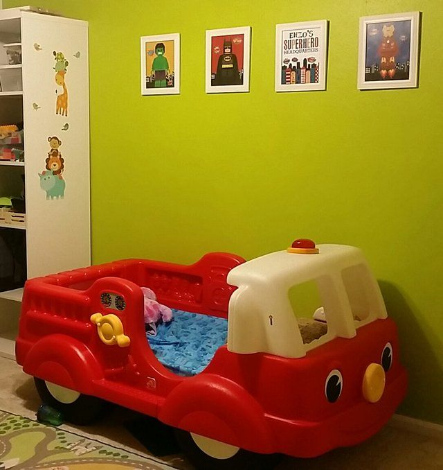 Does not include mattress <br> <br>Fits a crib mattress.  Great for transitioning your little one from crib to toddler bed. My boy loved it. From smoke and pet free home. Pick up at Mills Branch area.