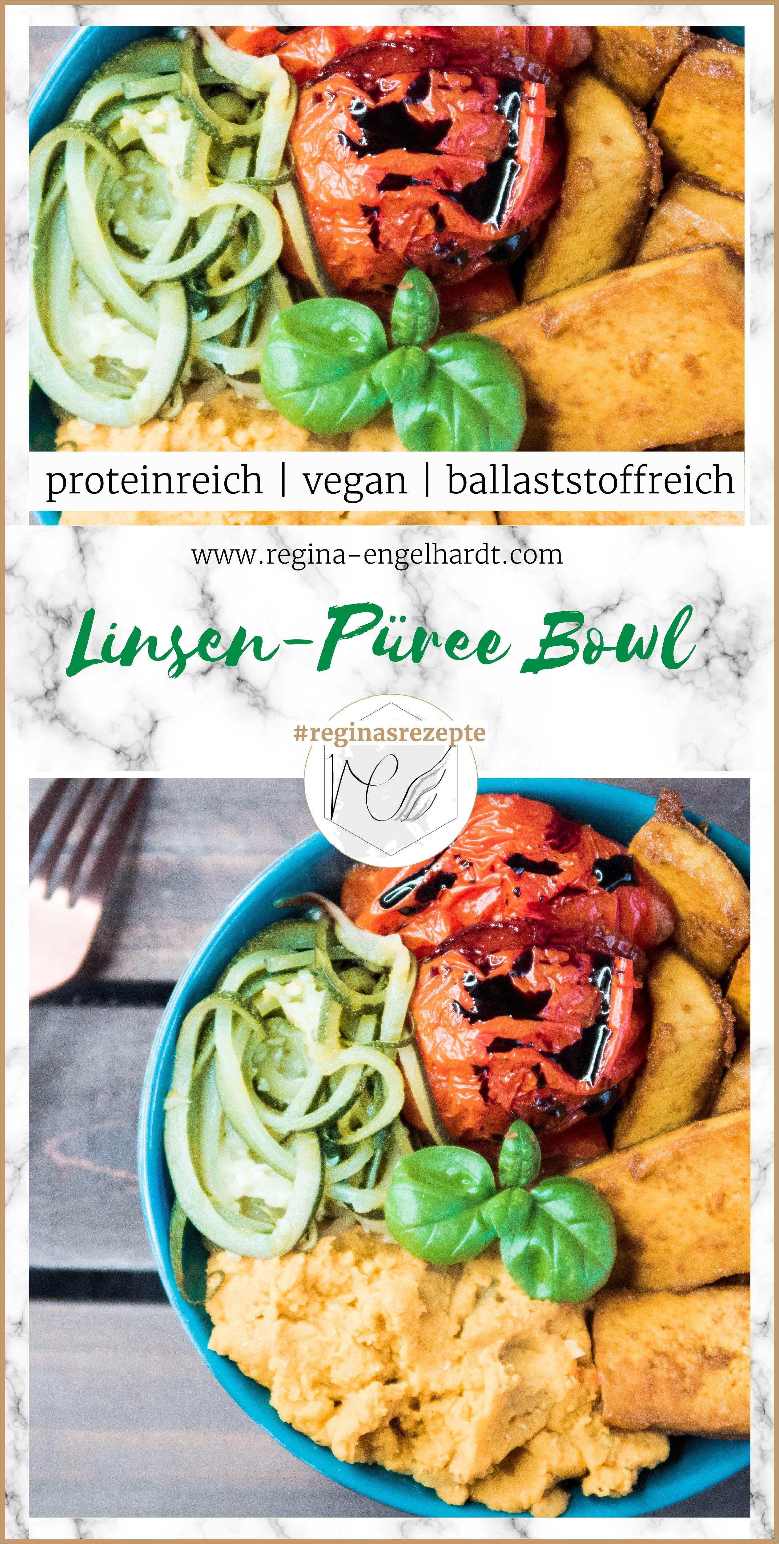 Dieses Rezept für eine vegane Linsen-Püree Bowl hat alles was eine fitnessgerechte Mahlzeit braucht:...