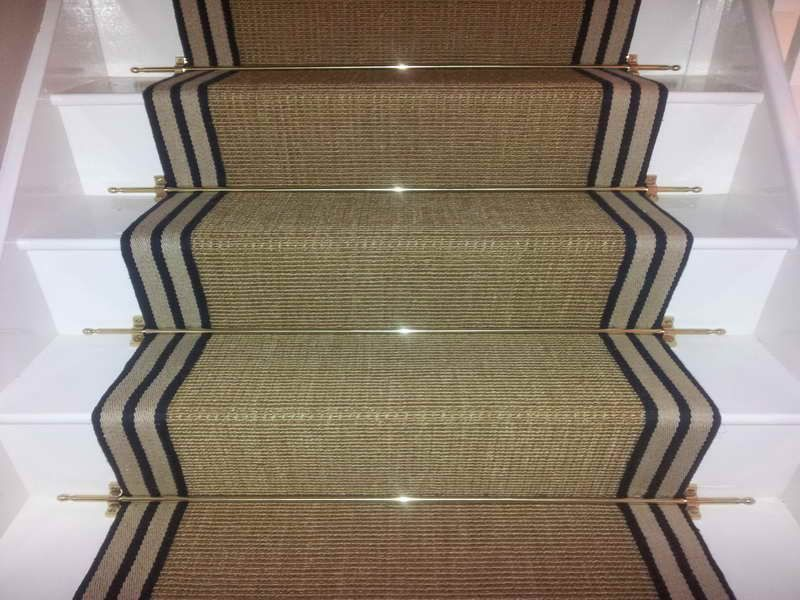 Best Sisal Gold Striped Border Carpet Runner For Stairs 640 x 480
