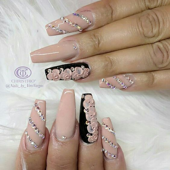 30 Beautiful Diamond Nail Art Designs | Diamond Nails Inspiration - Diamond Nails: 30 Nail Designs With Diamonds Diamond Nail Art