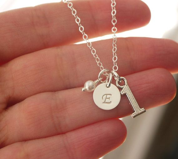 First Birthday Gifts For Girls One Charm Necklace 1 Number Gift Personalized Initial Birthstone Letter E