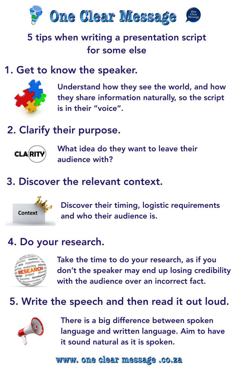 script for presentation Sample presentation script introduction distribute handouts • making library resources accessible to people with  this section provides a sample script for delivering a half-day to full-day presentation  verbal presentation of a lecture, the printed text of a book, and the resources of the internet.