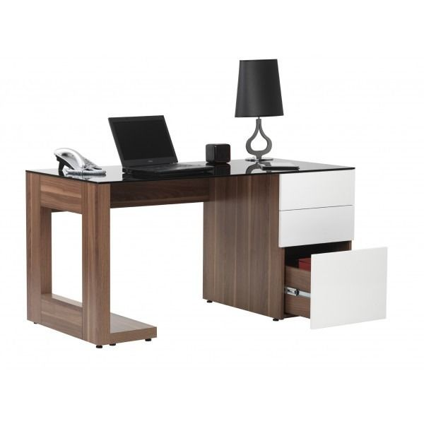 Dimensions   Superb Desk With Support And Modesty Panel Grey Glass Walnut  Melamine With High Gloss White Drawers 3 X Stationery Drawers X Filing  Drawer) ...