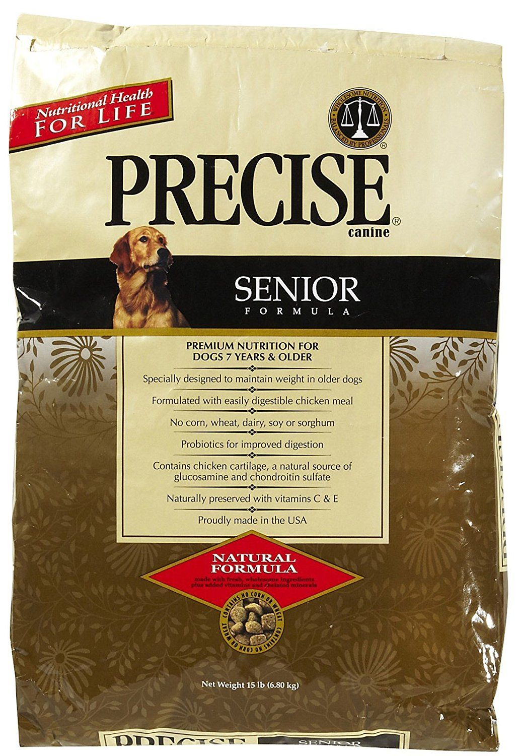 Precise 726029 Canine Senior Dry Food For Pets 15 Pound