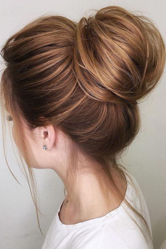 Voluminous Top Bun Hairstyles Hairstyles For Thin Hair Wedding Hairstyles Hair Styles