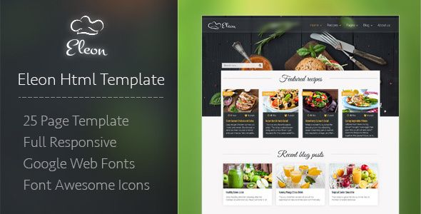 Nice eleon meals recipes html template meals themeforest buy eleon food recipes html template by devbirds on themeforest eleon is a food recipe and culinary templatefully responsive html template which is forumfinder Images