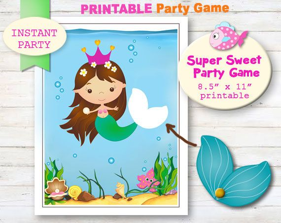 Pin the Tail on the Mermaid - Printable party games Mermaid party