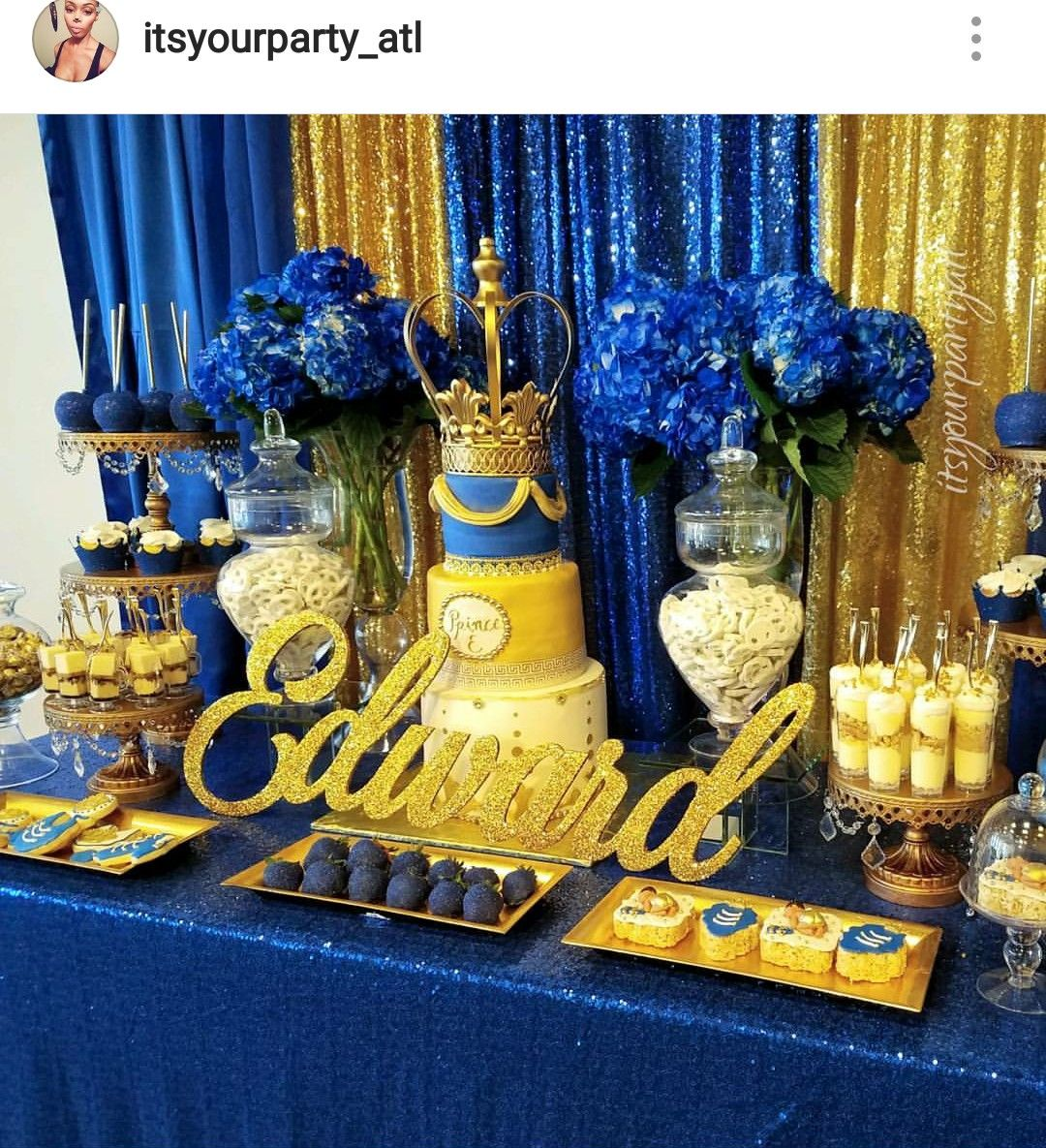 Royal Wedding Themed Desserts: Royal Prince Baby Shower Dessert Table And Decor