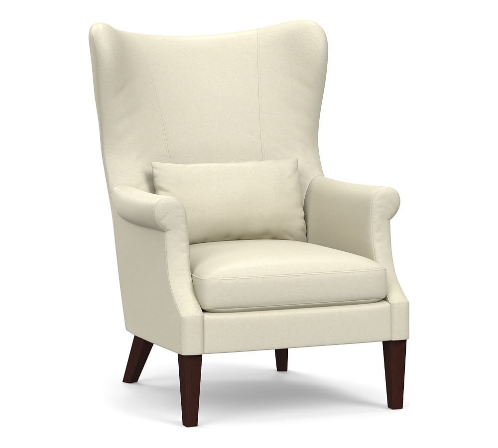 Champlain Wingback Leather Armchair Upholstered arm