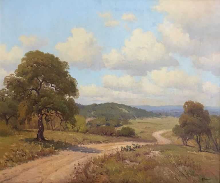 Porfirio Salinas Ranch Road Texas Hill Country Scene Winter Landscape Painting Country Scenes Landscape Paintings