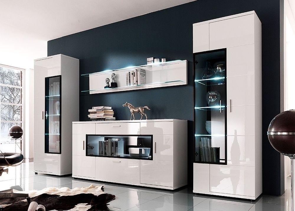 WOHNWAND VITRINE SCHRANKWAND WOHNZIMMER ICELAND 108647 - moderne wohnzimmer schrankwand