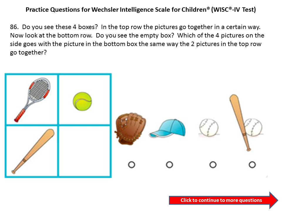 Practice questions for the WICS IV Third Grade to Fourth