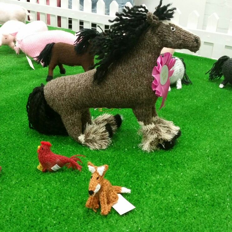 Knitted farm at knitting and stitching show Olympia 2015