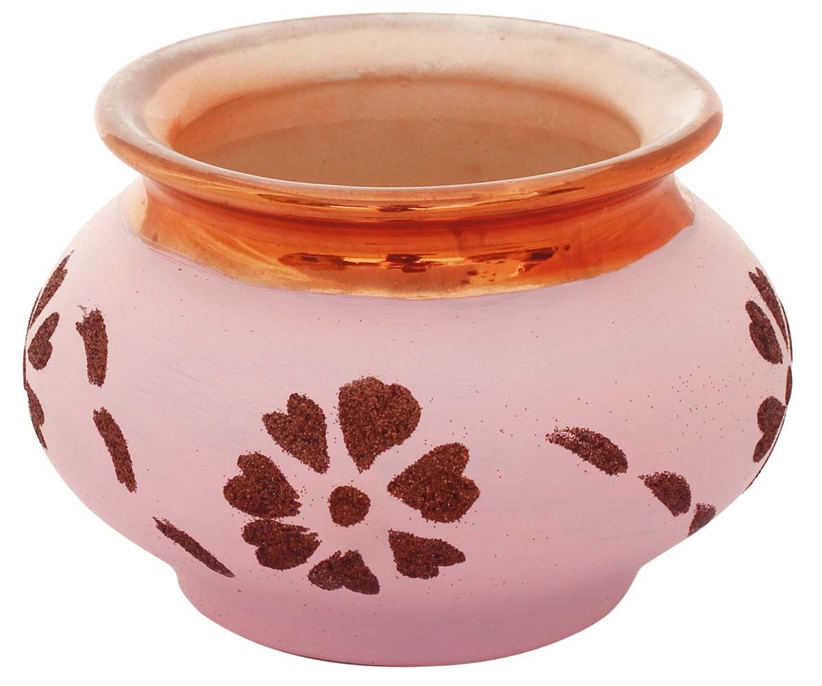 Bulk herbs wholesale - Bulk Wholesale Earthen Pot Ceramic Planter Hand Painted Pink Metallic Copper