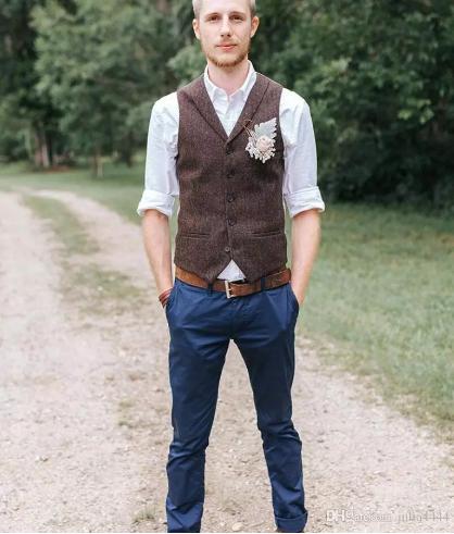 2019 Vintage Brown tweed Vests Wool Herringbone Breasted custom made Men s  suit tailor slim fit Blazer wedding suits for men 3539083fe9a2