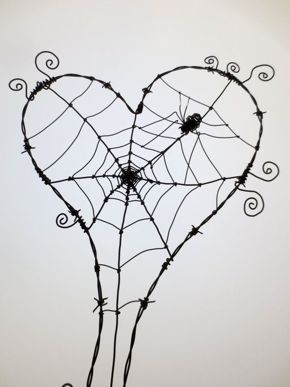 Wonky Barbed Wire Heart With Spider Web And by thedustyraven | Art i ...