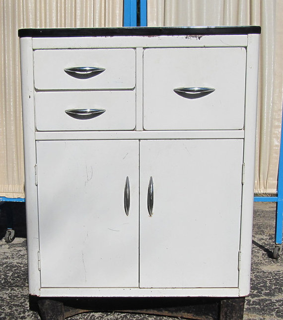 superb Enamel Kitchen Cabinets #7: Metal Kitchen Cabinet with Enamel Top Mid by oldgoatandhorse, $200.00