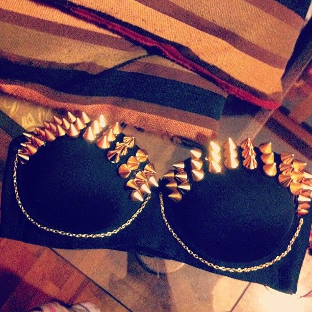 spiked bra! this would look so cute with high wasted shorts and the right kind of cardigan