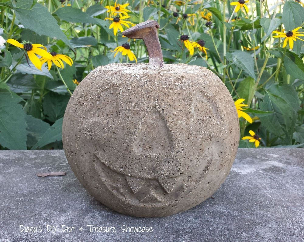 Pumpkin stems for crafts - Love The Railroad Spike Stem In This Concrete Pumpkin Use Cheap Pumpkin Buckets For Forms