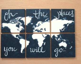 Teal orange navy oh the places you will go 6 by sincerelyyou world map 6 piece canvas oh the places you will go for the childrens room gumiabroncs Image collections
