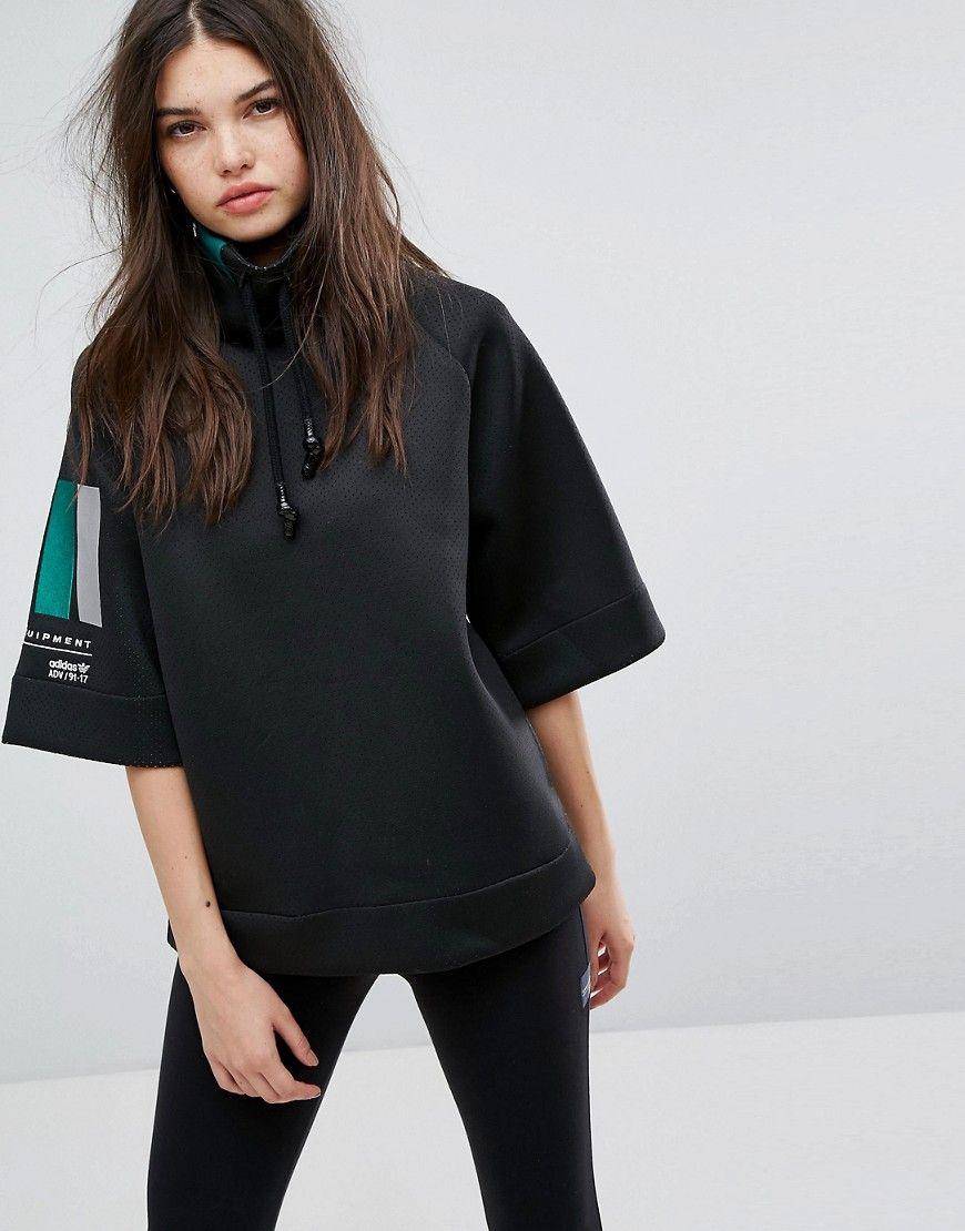 97786fab721c ADIDAS ORIGINALS ADIDAS EQT HIGH NECK SWEATER IN BLACK - BLACK.   adidasoriginals  cloth