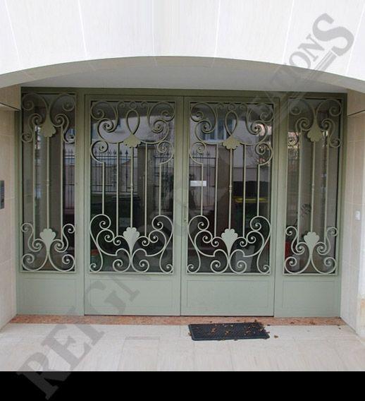 Porte d 39 entr e exterieur en fer forg doors pinterest for Porte exterieur fer forge tunisie