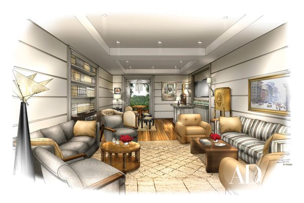 Waldo Fernandez Designs Academy Awards Lounge Interior RenderingInterior