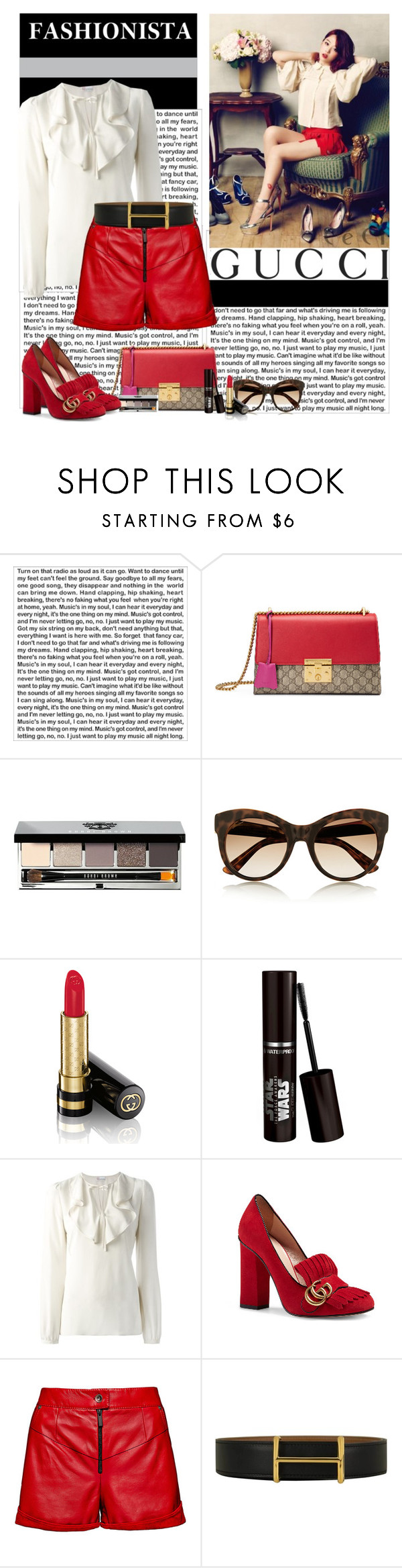 """""""Fashionista"""" by polybaby ❤ liked on Polyvore featuring Camp, Gucci, Bobbi Brown Cosmetics, RED Valentino, Magda Butrym and Hermès"""