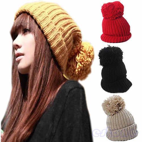 Cheap 1pc de la mujer de niña de invierno tejer tapa slouch gorro caliente  del ganchillo de esquí sombrero nuevo caliente 2299de697ba