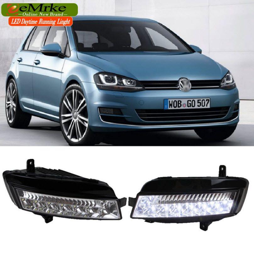 EeMrke LED Daytime Running Lights For VW Volkswagen GOLF 7 Mk7 White DRL  Light Fog Lamp