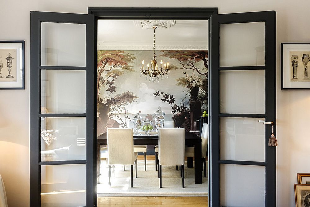 Captivating Entry To The Asian Dining Room With Black Framed Doors [Design:  Caronu0026Associés]