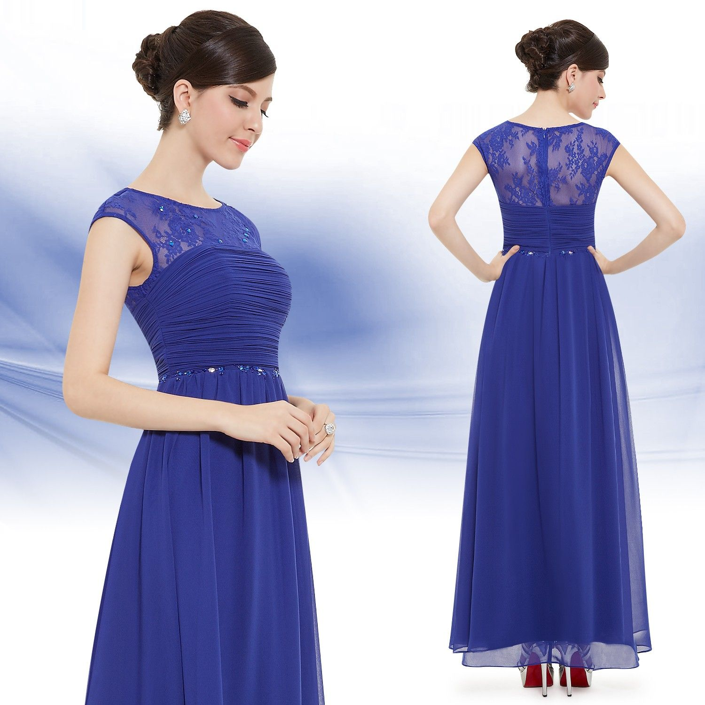 Blaues Kleid Rundhals  Formale abendkleider, Festliche kleider