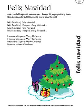 Feliz Navidad Lyric Sheet Spanish Christmas Songs Christmas Songs Lyrics Christmas Lyrics