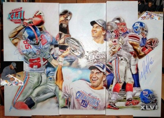 A painting showing the 2 best catches in Superbowl history that won the Giants their championship