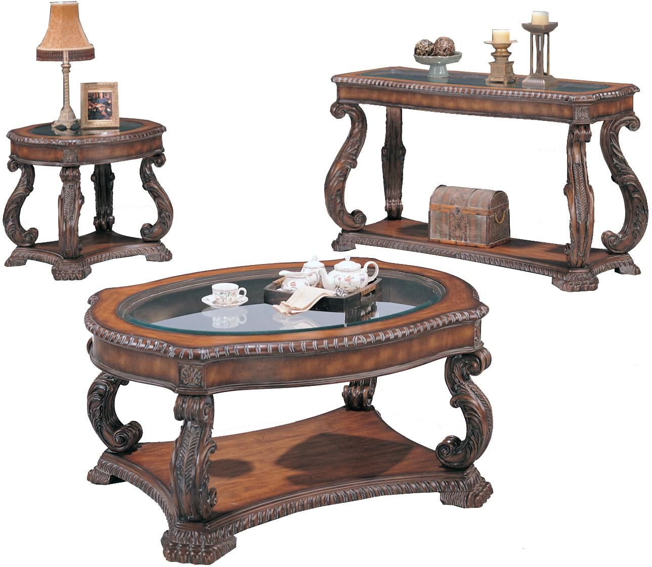 Doyle Traditional Occasional Table Set (End Cocktail and Sofa Tables)  sc 1 st  Pinterest & Coaster Doyle Traditional Oval End Table with Glass Inlay Top ...