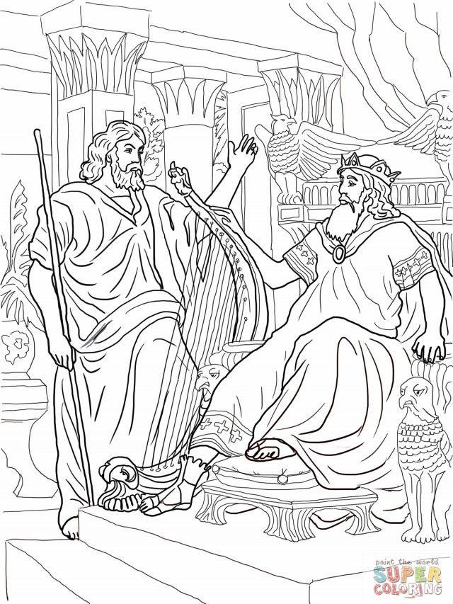 King David And Nathan Coloring Online Super Coloring Davi E Golias Desenhos Golas