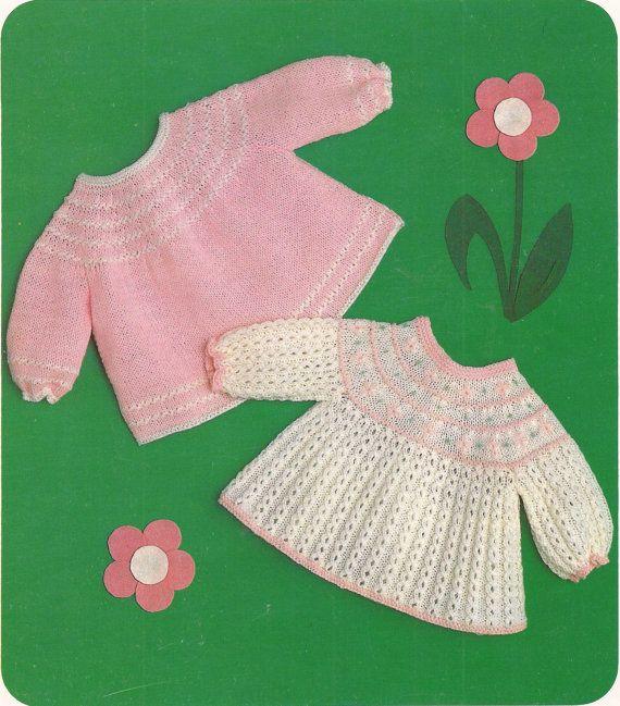 PDF Knitting Pattern Prem Baby Knitted Dresses 12-16\