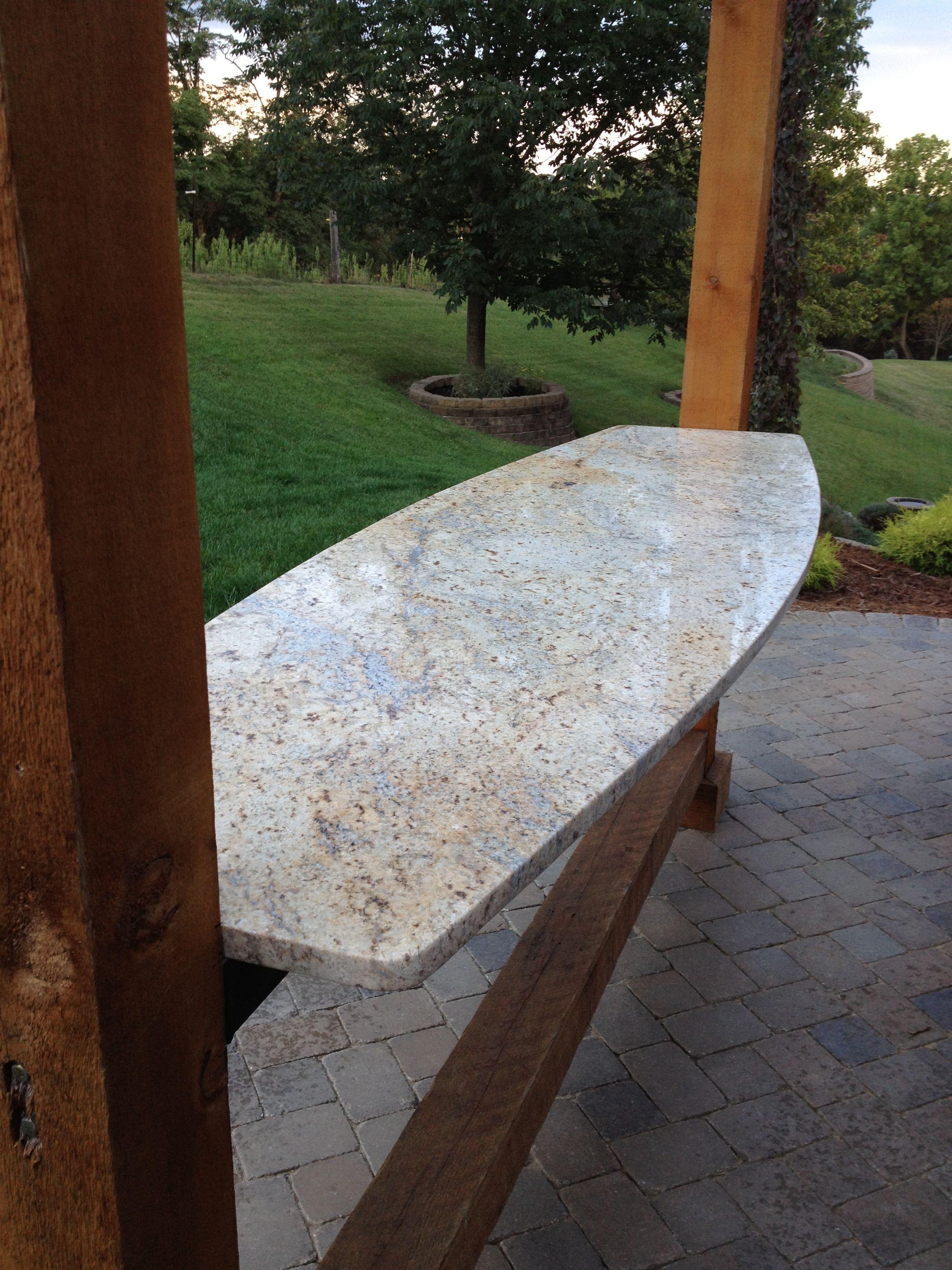 Floating Granite Top & Cedar Pergola