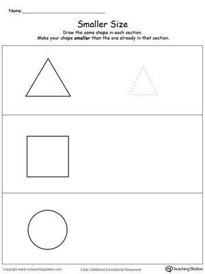 draw a smaller size shape shapes worksheets. Black Bedroom Furniture Sets. Home Design Ideas