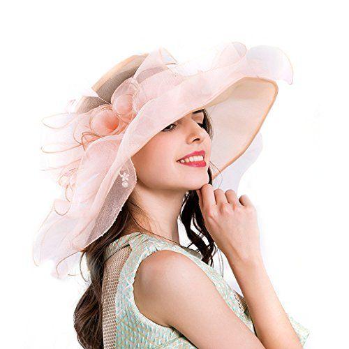 11eaff3cb10 Dreamowl Lady Church Kentucky Derby Hat Sheer Wide Brim Dress Wedding Tea  Party Hats