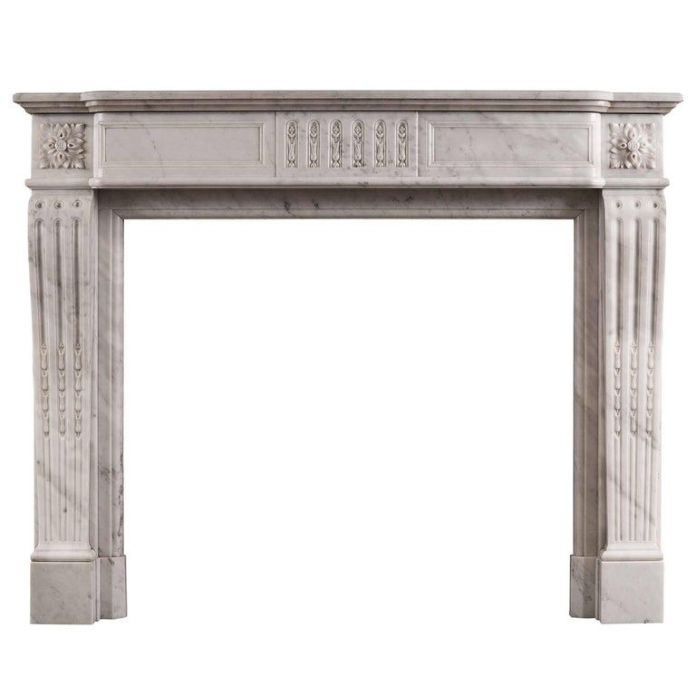 Louis Xvi Style Fireplace In Carrara Marble In 2020 Carrara Marble Louis Xvi Style Marble Fireplaces