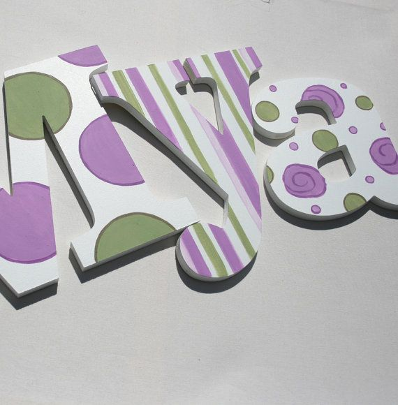 Lavender Sage Pattern Wooden Wall Name Letters / Hangings, Hand ...