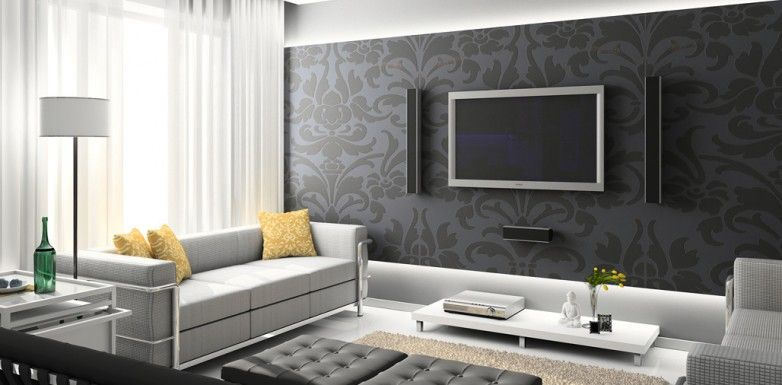 ba13 papier peint tv au mur led sur la tranche salon. Black Bedroom Furniture Sets. Home Design Ideas