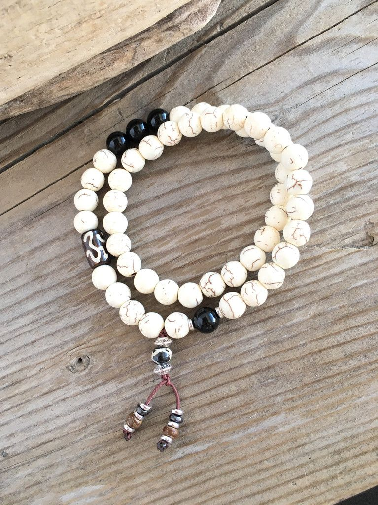 Men's Bhakti Double Bracelet- Calms the mind and reduces self-criticism. Protection from harm. Howlite and Black Onyx gemstones.