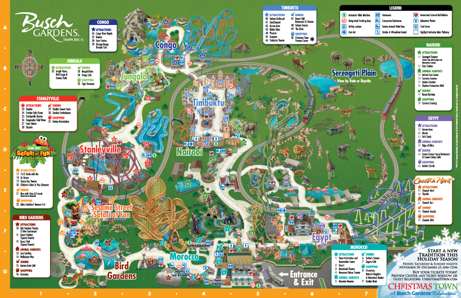 Map Of Tampa Bay Florida.Park Map Busch Gardens Tampa Bay Orlando Fl Pinterest Busch