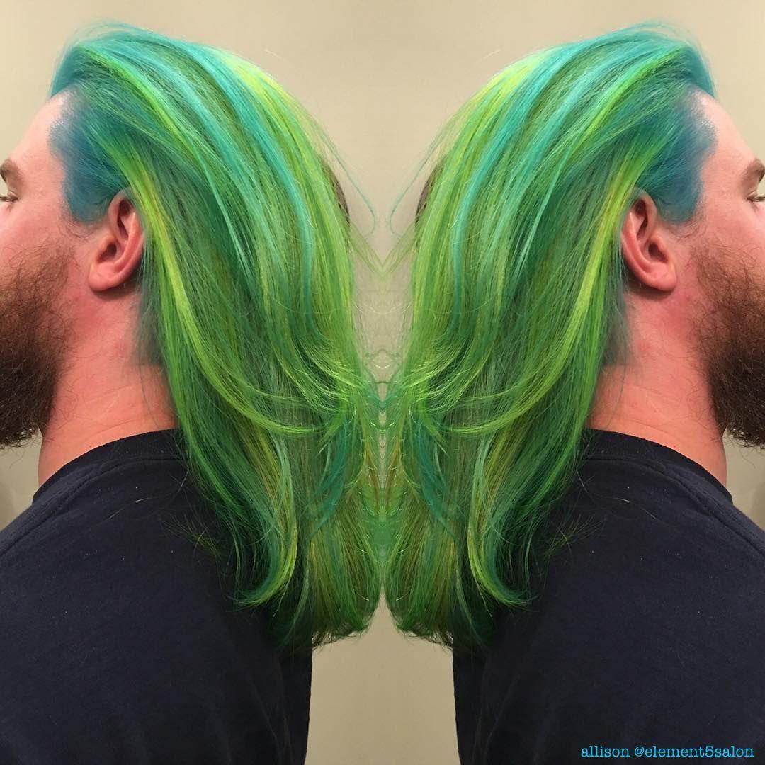 Neon Teal Lime Green Merman Mermaid Male Color Unicorn Hair Green Hair Hair Highlights Hair Color Pastel